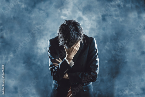 Fotografie, Tablou 悩むビジネスマン