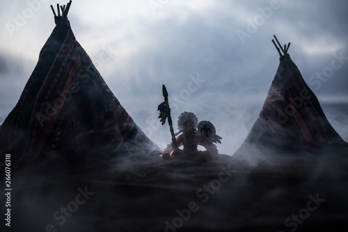An old native american teepee in the desert Canvas Print