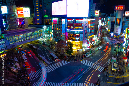 Poster Tokio Night timelapse crossing at the neon town in Shibuya Tokyo high angle wide shot