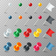 Pins Flags Tacks. Colored Poin...