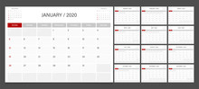 2020 Calendar Planner Design Template Vector Week Start Sunday..