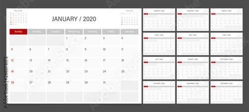 Obraz 2020 calendar planner design template vector week start Sunday.. - fototapety do salonu
