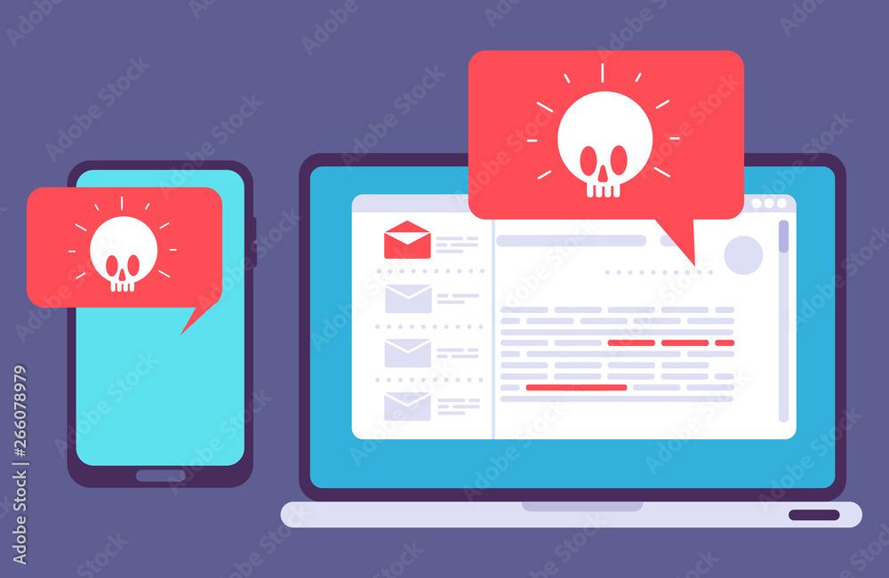 Fototapeta Virus on laptop and phone, vector illustration of hacker attack. Danger virus alert, attack and theft to laptop or smartphone