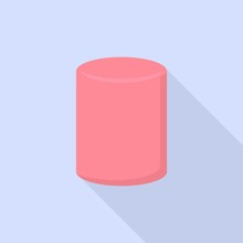 Pink Marshmallow Icon. Flat Illustration Of Pink Marshmallow Vector Icon For Web Design