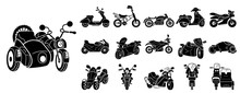 Motorbike Icons Set. Simple Se...