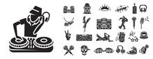 Hiphop Icons Set. Simple Set O...