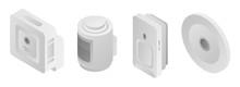 Motion Sensor Icons Set. Isometric Set Of Motion Sensor Vector Icons For Web Design Isolated On White Background