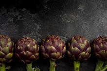 Edible Plant, Purple Artichoke On Dark Marble Background