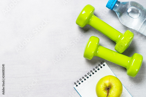 Diet and fitness background top view. Fototapeta
