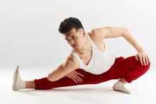 Asian Handsome Dancer Stretchi...