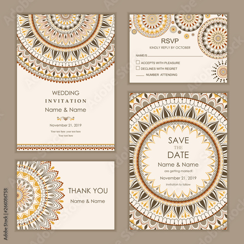 Fototapeta Wedding Invitation With Rsvp Save The Date And Thank You Card Eastern Style Arabic Pattern Mandala Ornament Frame With Flowers