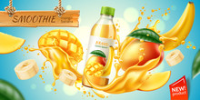 Realistic Mango And Banana Fruit Juice Advertising With Bottle In Juicy Fruit Splash With Slices, Green Leaves. Banana Slices, Mango Cubes In Juice Explosion Flow. Vector Product Package Design.