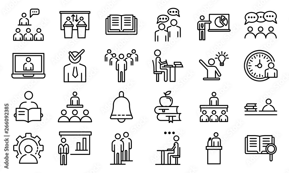 Fototapeta Lecture class icons set. Outline set of lecture class vector icons for web design isolated on white background