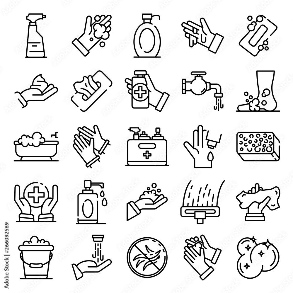Fototapeta Sanitation icons set. Outline set of sanitation vector icons for web design isolated on white background