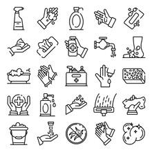 Sanitation Icons Set. Outline ...