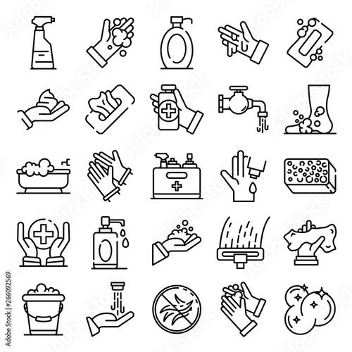 Obraz Sanitation icons set. Outline set of sanitation vector icons for web design isolated on white background - fototapety do salonu