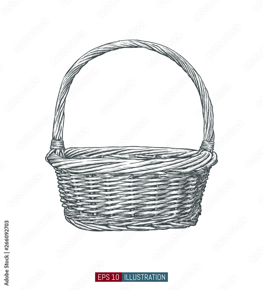 Fototapety, obrazy: Hand drawn wicker basket. Engraved style vector illustration. Template for your design works.