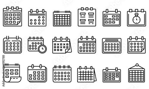 Obraz Calendar icons set. Outline set of calendar vector icons for web design isolated on white background - fototapety do salonu