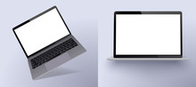 Set Mock-up Of Realistic Laptop. 3d Isometric Illustration Laptop . Perspective View Devices. Mockup Generic Device. Template For Infographics Or Presentation