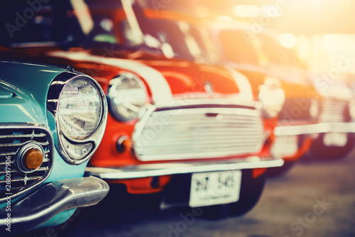 Recess Fitting Vintage cars Classic Old Cars with colorful,Vintage retro effect style pictures.