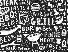 Modern Lettering Bbq Seamless Pattern. Barbeque Food Illustration For Menu Design