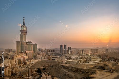 Montage in der Fensternische Blau Jeans Makkah Cityscape Saudi Arabia