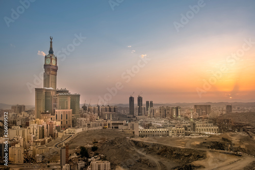 Foto auf AluDibond Blau Jeans Makkah Cityscape Saudi Arabia