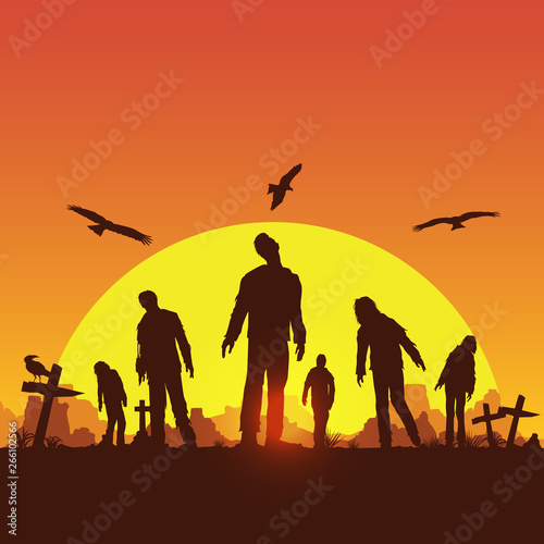Silhouette of zombies walking at graveyard, Vector Illustration Canvas Print
