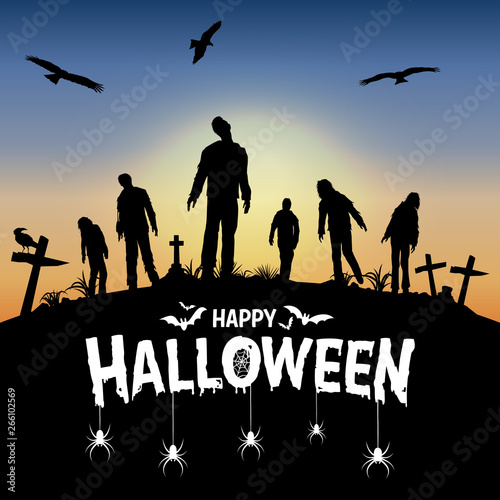 Photo  Silhouette of zombies walking at graveyard, Vector Illustration