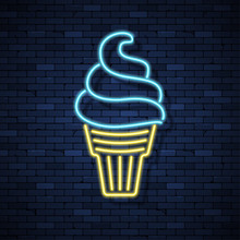 Ice Cream Glowing Neon Sign On Brick Wall Background