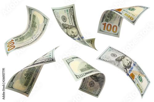 Obraz Set of flying 100 dollars banknotes, isolated on white background - fototapety do salonu