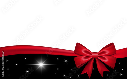 Fototapeta Gift Card With Red Ribbon Bow Isolated On White Background Decoration Stars Design For Christmas Holiday Celebration Greeting Valentine