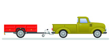 Vintage Pickup Truck And Trail Vector Illustration Isolated On White Background.