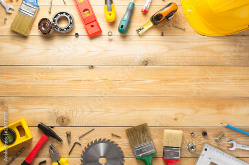 Photo Stands Asia Country set of tools and instruments at wooden background