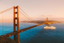 Golden Gate Bridge With Cruise Ship At Sunset, San Francisco, California, USA