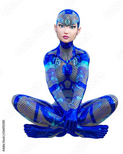 Fototapeta Cyborg droid robot woman futuristic metallic neon suit
