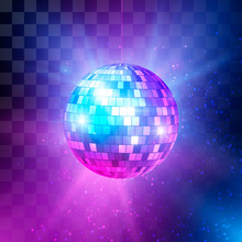 Disco Ball With Bright Rays And Bokeh. Music And Dance Night Party Background. Abstract Night Club Retro Background 80s. Vector Illustration