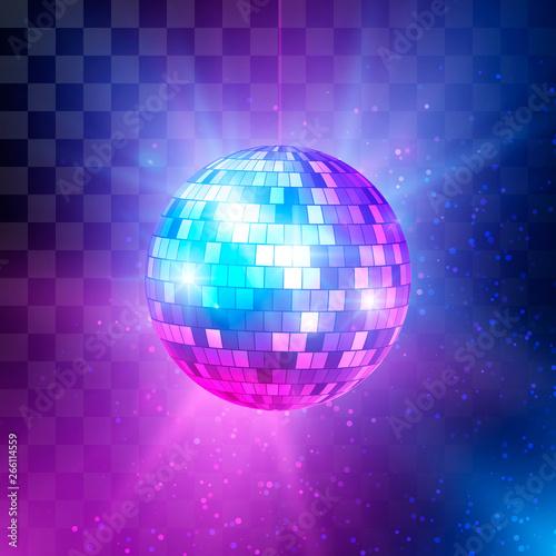 Fototapeta Disco ball with bright rays and bokeh