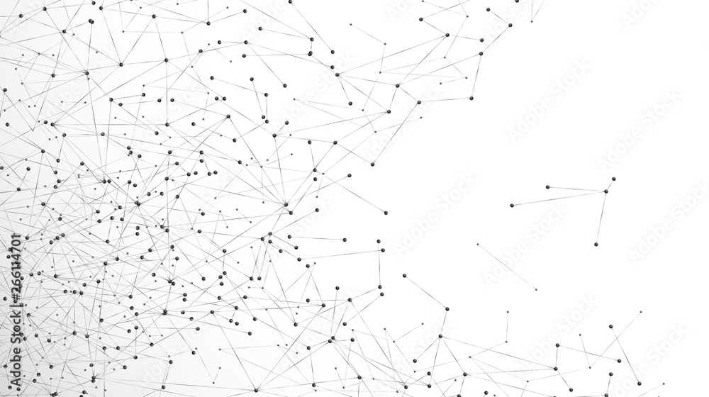 Fototapety, obrazy: Abstract particle background. Mess network plexus. Atomic and molecular pattern. Nodes connected in web. Vector illustration isolated on white background