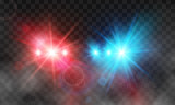 Flash red and blue light police car siren in fog. Vector illustration isolated on transparent background