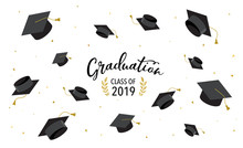 Graduate Class Of 2019. Caps And Confetti On A White Background. Hats Thrown Up, Vector Illustration, Banner Design