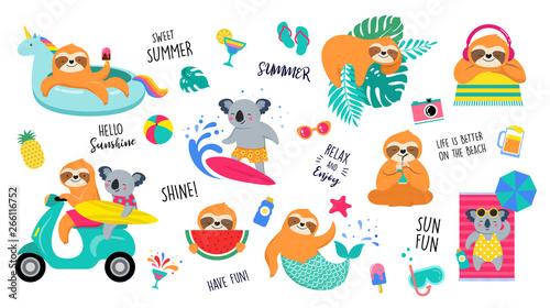 Naklejka premium Letnia zabawa ilustracja z uroczymi postaciami koali i leniwców, dobra zabawa. Letnie zajęcia na basenie, morzu i plaży, ilustracje wektorowe koncepcja