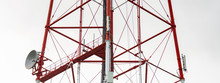4G TV Radio Tower With Parabolic Antenna And Satellite Dish. Broadcast Network Signal. High Coverage Area.