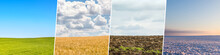 Four Season Collage From Shots With Fields Ans Skies