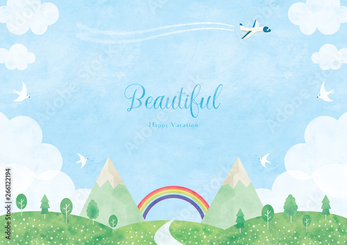 Fototapety, obrazy: Summer landscape and summer vacation illustration background, watercolor style