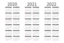 Mockup Simple Calendar Layout For 2020, 2021 And 2022 Years. Week Starts From Sunday