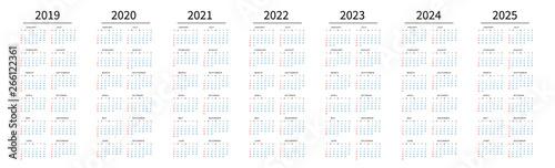 Fototapeta Mockup Simple calendar Layout for 2019 to 2025 years. Week starts from Sunday obraz na płótnie