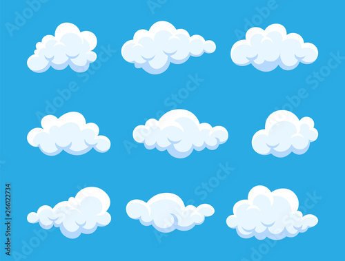 Foto op Plexiglas Hemel Cloud. Abstract white cloudy set isolated on blue background. Vector illustration