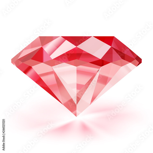 Cuadros en Lienzo  Realistic ruby illustration - vector red diamond on white background