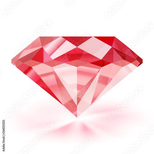 Fotografía Realistic ruby illustration - vector red diamond on white background